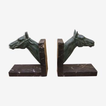 """Paire de serre-livres """"aux chevaux"""""""