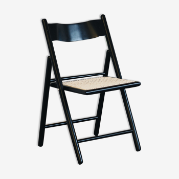 Chaise vintage, rotin & bois