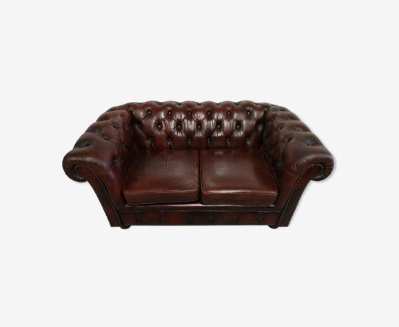 Canapé chesterfield cuir marron deux places