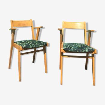 Paire de fauteuils bridge pieds Sauterelles des années 60