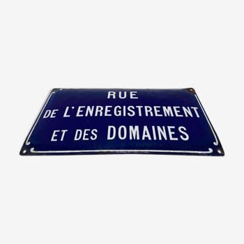 """Plaque émaillée bleue roi et blanche """"Rue de l'Enregistrement et des Domaines"""""""