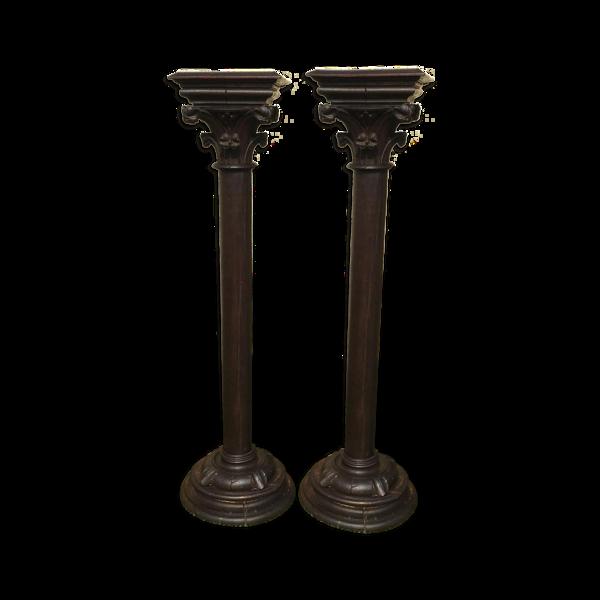 Selency Paire de colonnes en chêne style gothique