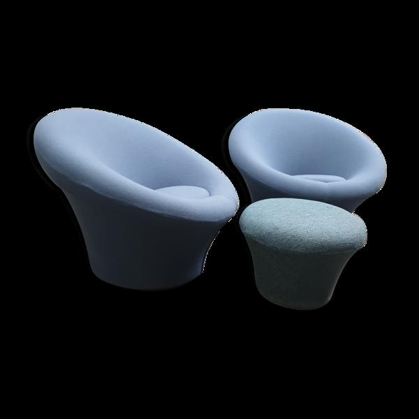 Selency Paire de fauteuils Mushroom avec ottoman de Pierre Paulin pour Artifort