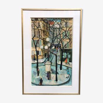 Lithographie «Vue de Paris»