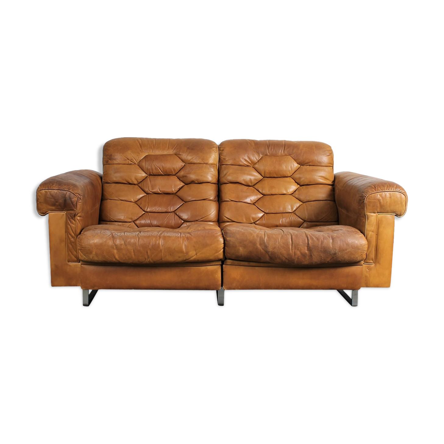 Canapé De Sede DS-P par Robert Haussmann en cuir cognac
