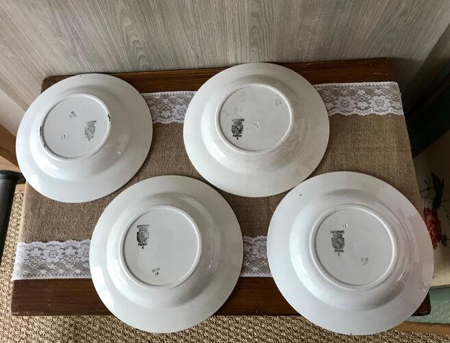 Lot de 4 assiettes creuses Digoin et Sarreguemines numérotées 4534
