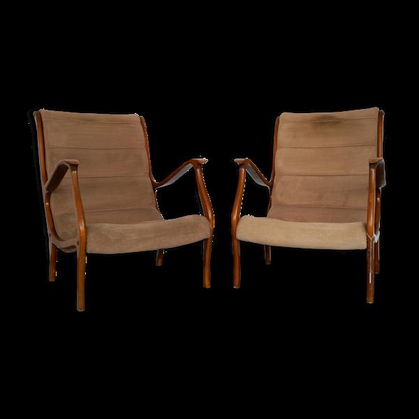 Ensemble de deux fauteuils par Ezio Longhi pour Elam Italie des années 1950