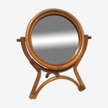 Miroir à poser, vintage, en rotin