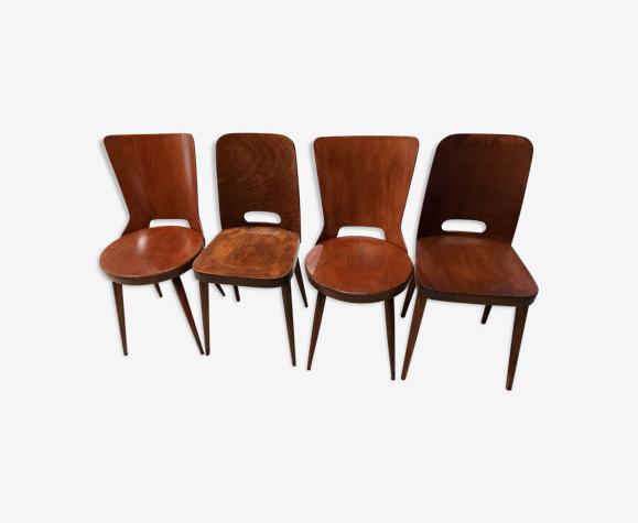Suite de 4 chaises de Bistrot Baumann vintage années 1960