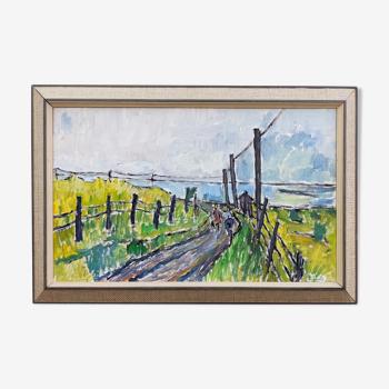 Peinture à l'huile de paysage expressionniste vintage du milieu du siècle - cycling along