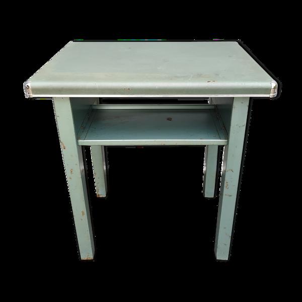 Table d'appoint métal moleskine vert et chrome 1950