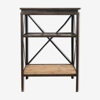 Console d'atelier en métal et bois