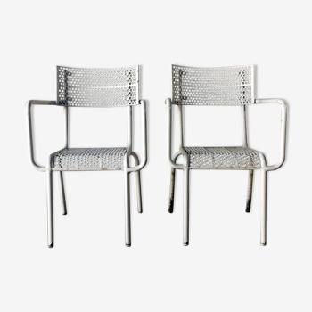 Set de 2 fauteuils de jardin tôle perforée