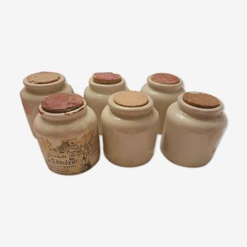 6 anciens pots en gres avec bouchon liège