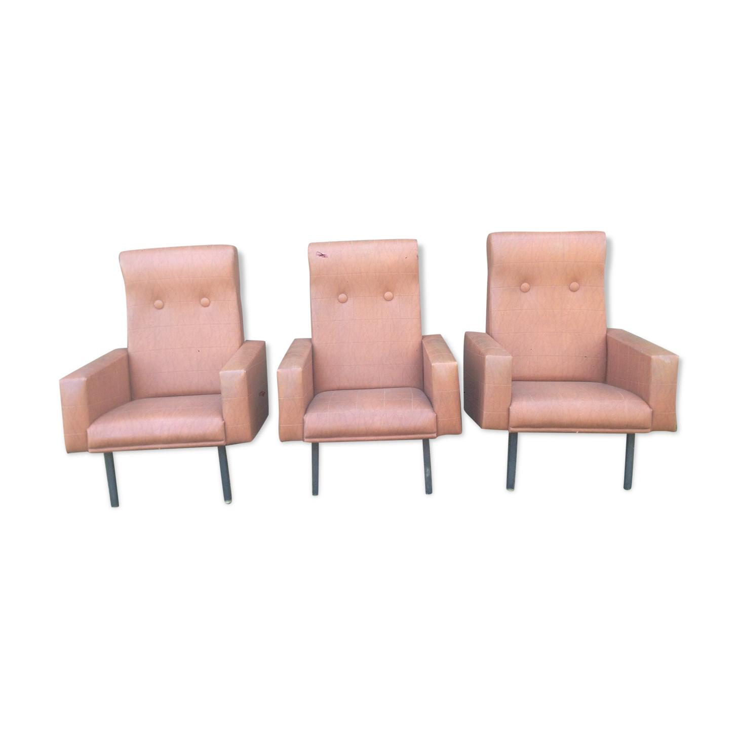 Trio de fauteuils vintage en skaï marron