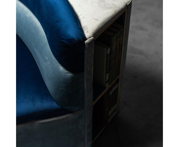 Canapé bibliothèque modulaire en tissu des années 70 modernié vintage