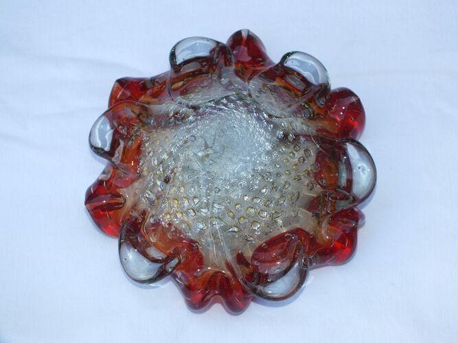 Cendrier vintage en verre de Murano à inclusions or