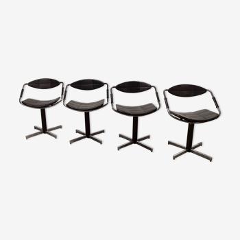 Lot de 4 chaises fauteuils Steiner modèle unesco 1962