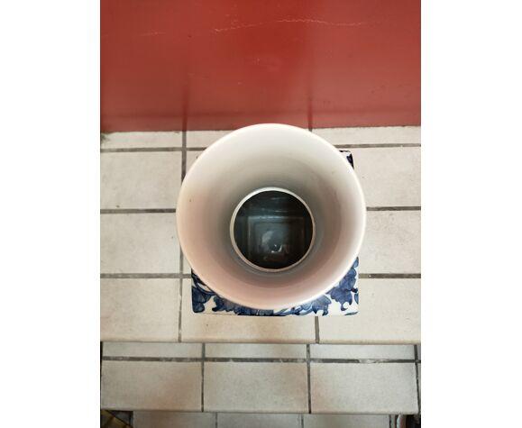 Vase céramique chinoise vintage blanc et bleu cobalt