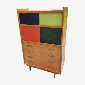 Vitrine bibliothèque des années 50 vitres coulissantes polychrome 4 tiroirs