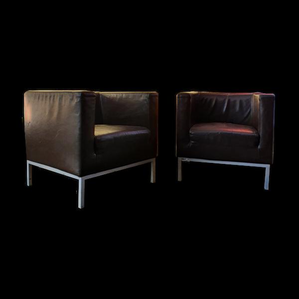 Selency Paire de fauteuils cube Giulio Marelli pour l'aéroport de Paris en cuir chocolat
