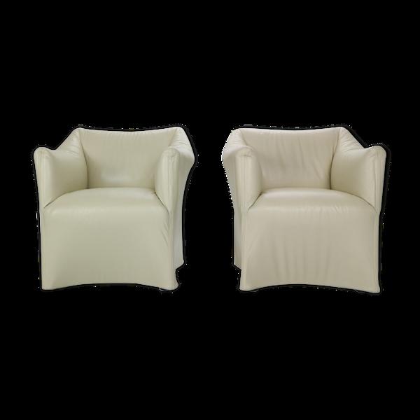 Ensemble de 2 fauteuils de salon en cuir Mario Bellini Tentazione