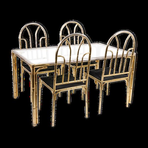 Table de salle à manger et quatre chaises de style bambou, années 1980