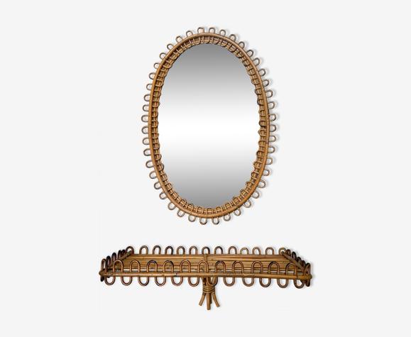 Ensemble console et son miroir en rotin années 1960