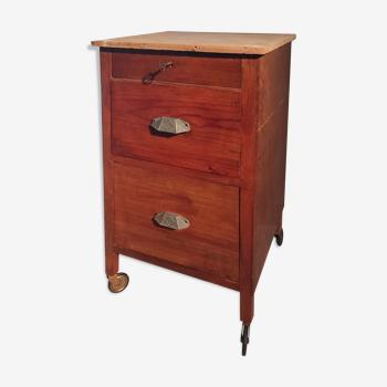 Desserte de bureau bois meuble métier Art Déco chevet sur roulette poignée coquilles années 1920-30