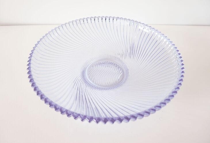 Plat rond en verre violet vintage