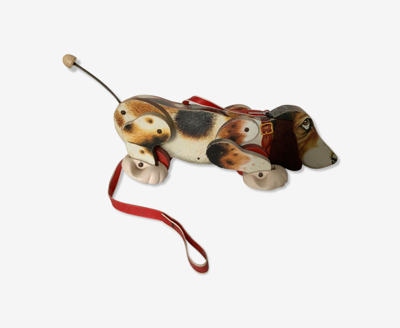 Fisher price wooden shooting dog 1961