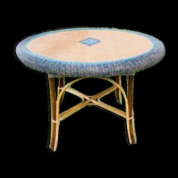 Table rotin osier vintage