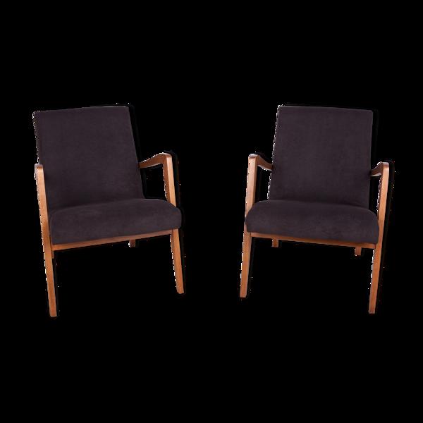 Selency Ensemble de 2 fauteuils en hêtre de type 300-138 de la fabrique de meubles Bystrzyckie, années 1960