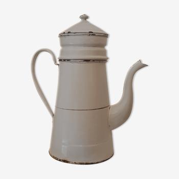 Old off-white/light grey enamelled coffee maker