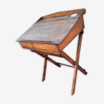 Pupitre table écolier pliable avec son encrier en porcelaine