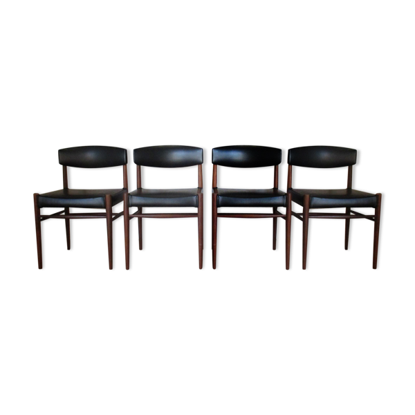 Quatuor de chaises en teck Alvéole