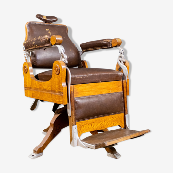 Art Deco Oak and Leather Barber Chair