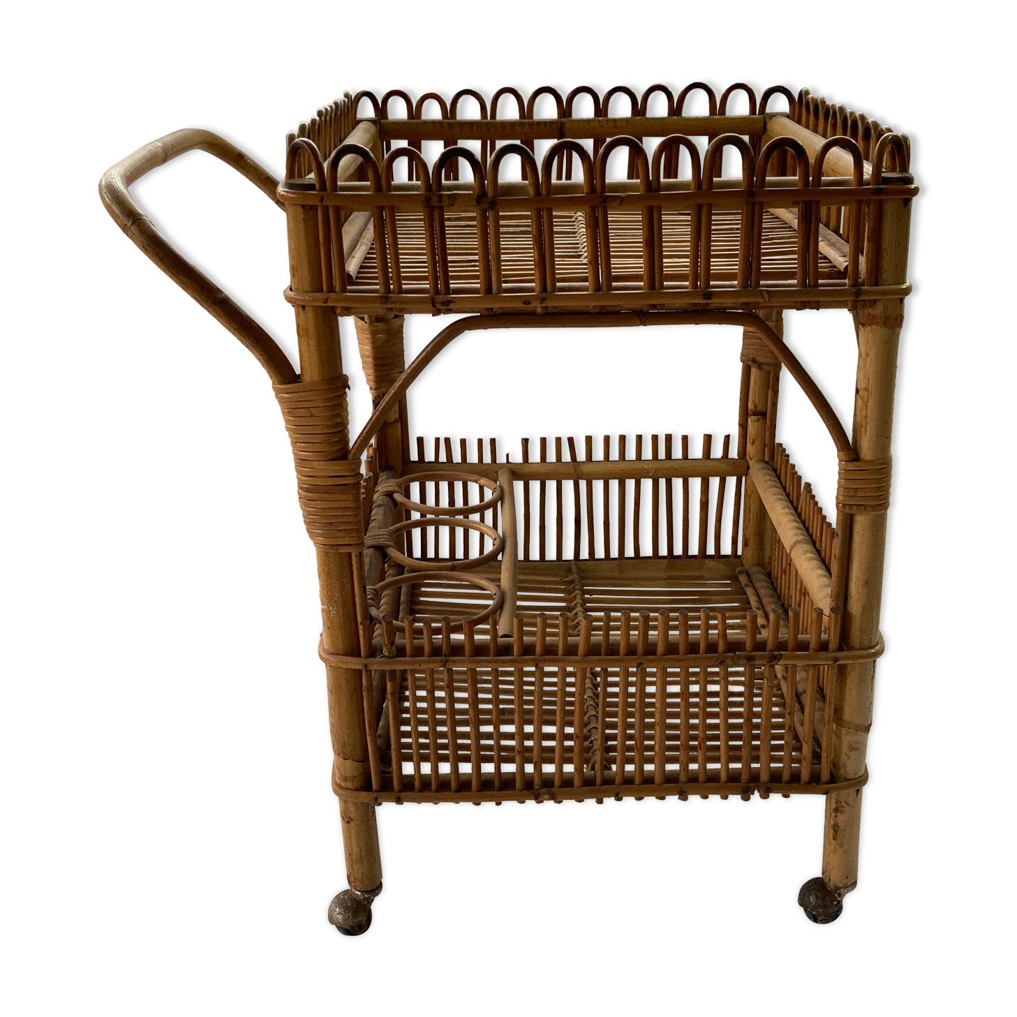 Chariot de bar en bambou des années 1950 - 1960
