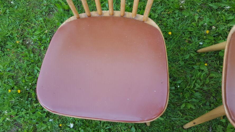Trio de chaises bistrot Baumann vintage années 60