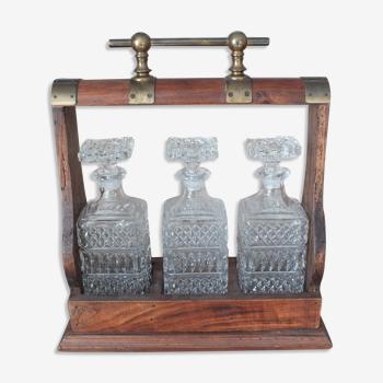 Tantalus - Cave à liqueur porte bouteille avec 3 carafes en cristal