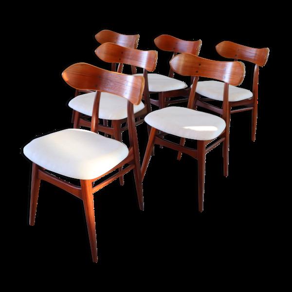 Selency 6 chaises Karstrup par Louis Van Teeffelen pour Webe