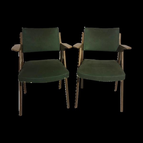 Selency Paire de fauteuils 1950 skai et bois