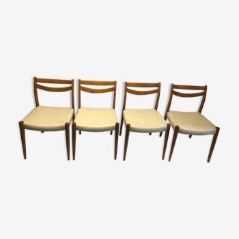 Lot de 4 chaises danoises 1950