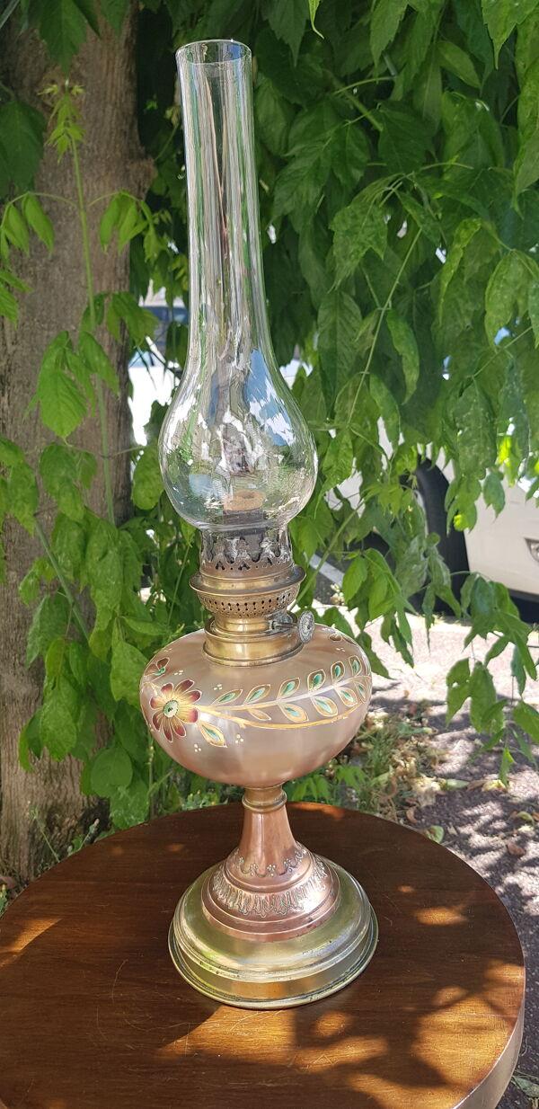 Lampe à pétrole émaillée métal bicolore