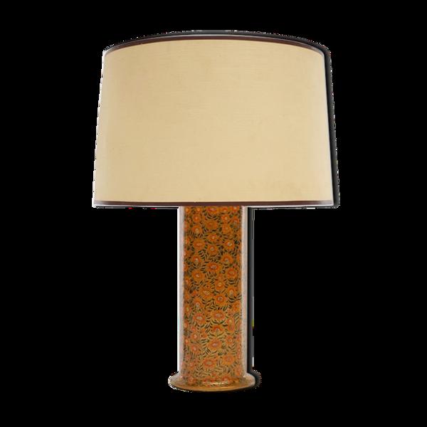 Lampe à base de carton et à décor floral circa 1970
