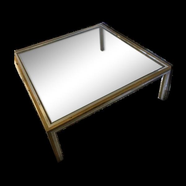 Table en verre, chrome et laiton des années 70
