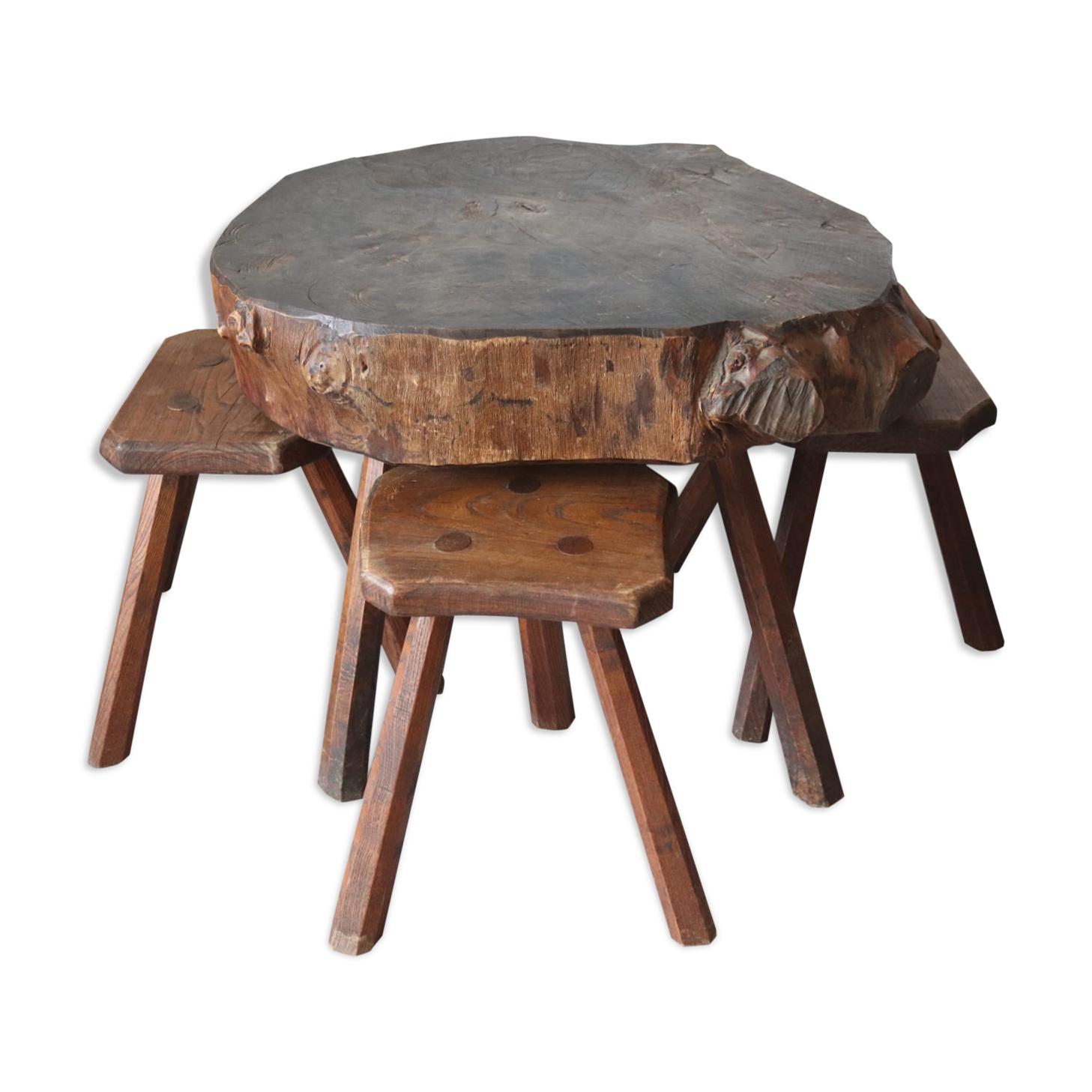 Table basse et tabourets brutaliste en orme massif années 50-60