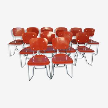 Lot de 12 chaises empilables Aluflex par Armin Wirth, Ph. Zieringer Suisse