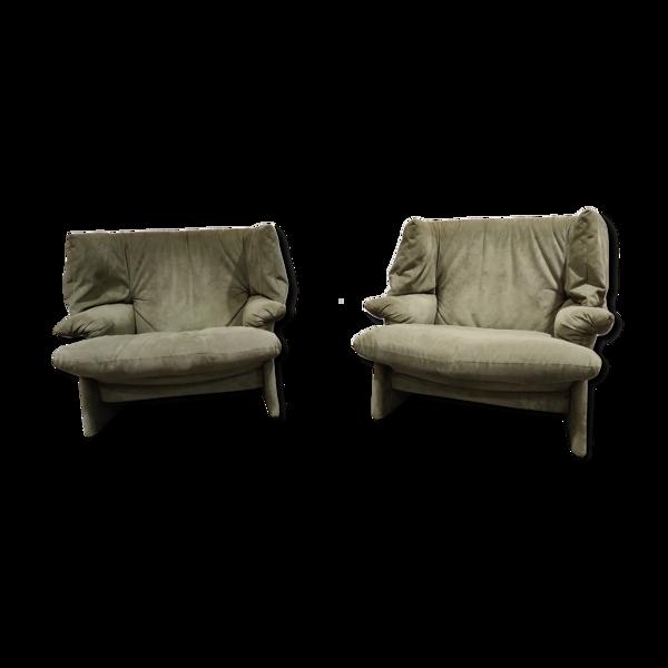 Paire de fauteuils Porto Venere par Vico Magistretti pour Cassina, années 1980