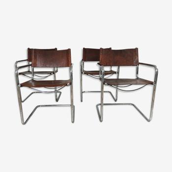 Lot de 4 fauteuils 1980